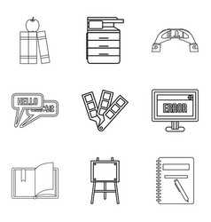 Journal icons set outline style vector