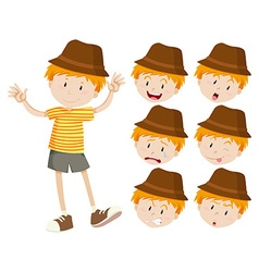 Little boy with different emotions vector image