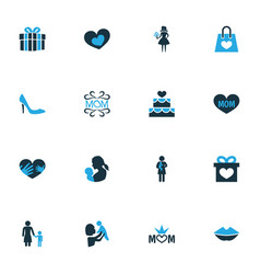 Mothers day colorful icon design concept set of vector