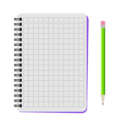 Notebook with a green pencil vector