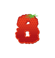 Number 8 strawberry font red berry lettering vector
