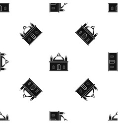Royal castle pattern seamless black vector