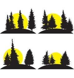 set of different landscapes with rising sun vector image vector image