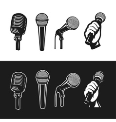 Set of monochrome microphones vector image