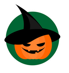 Spooky halloween pumpkin in wizard hat background vector