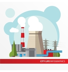 Thermal power station in a flat style vector