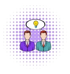Two businessmen and lightbulb icon comics style vector image vector image