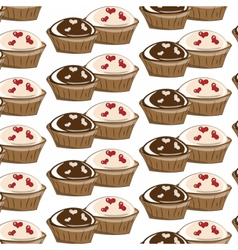 Vanilla and chocolate cupcakes vector image vector image