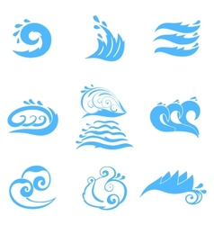 Wave symbols set for design isolated on white vector image vector image