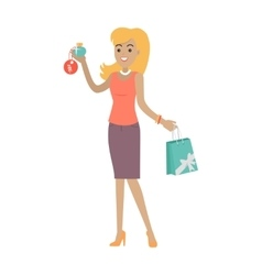 Woman buys perfume at discount price fragrance vector