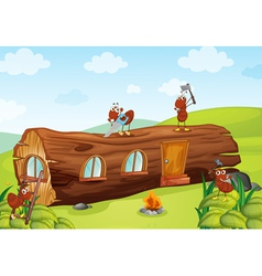 ants and wooden house vector image