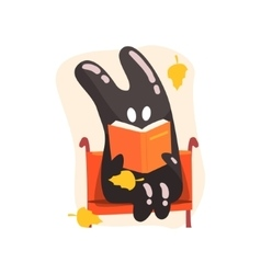 Black tar jelly rabbit shape monster reading a vector