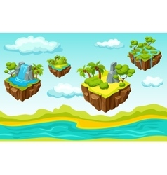 Hanging islands game level isometric template vector