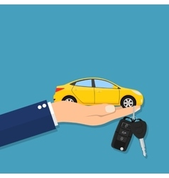Car seller hand giving key to buyer vector