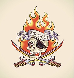 Skull of pirate - tattoo design vector