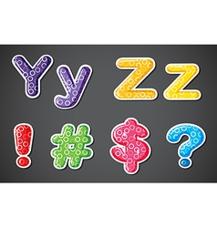 Two alphabet letters with four different symbols vector
