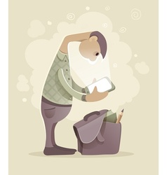 Young man student with tablet vector image