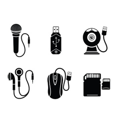 Icon set in black for digital devices vector image