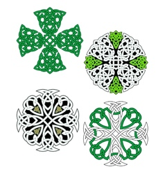 Green and white knotted celtic crosses vector