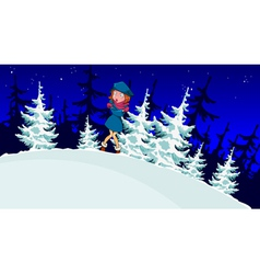 Cartoon girl froze in the winter forest vector