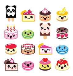 Cute kawaii dessert - cake macaroon ice-cream ic vector
