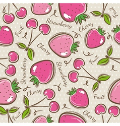 Background with strawberry and cherry vector
