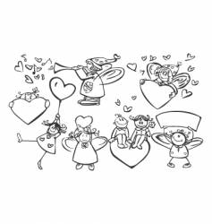 set of cute angels vector image
