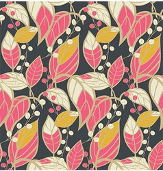Seamless floral pattern with hand drawn leaves vector