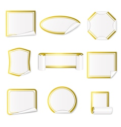 Set of paper stickers white with gold border vector