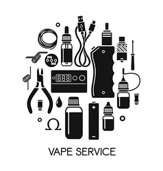 Icons of vape and accessories vector