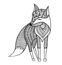 Zentangle happy fox for adult anti stress vector