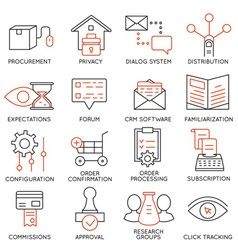 Set of icons related to business management - 18 vector image