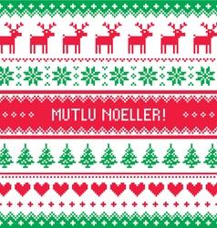 Merry Christmas in Turkish - Mutlu Noeller pattern vector image
