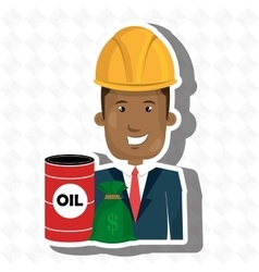 Persons with barrel petroleo isolated icon design vector