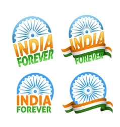 India forever four badges independence day vector