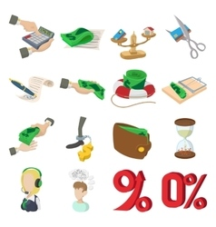 Bank icons set cartoon style vector image