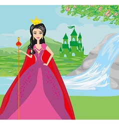 Beautiful young queen in front of her castle vector