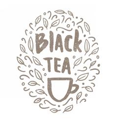 Black tea doodles vector image