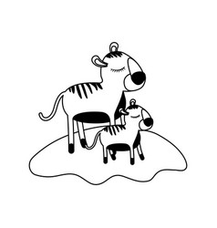 cartoon tiger mom and cub over grass in black vector image