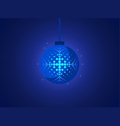 christmas ball with snowflake of pop art style vector image