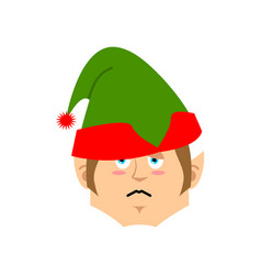christmas elf sad emoji santa helper sorrowful vector image vector image