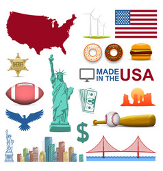 Collection of icons the united states usa sign vector