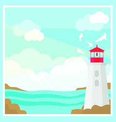 Colorful ocean landscape template vector