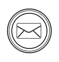 Contour emblem close message envelope icon vector