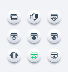 Credit cards icons set for mobile banking app vector