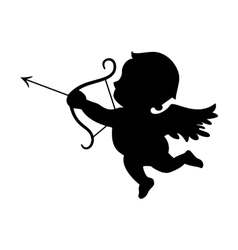 Cupid black silhouette Valentines day symbol vector image