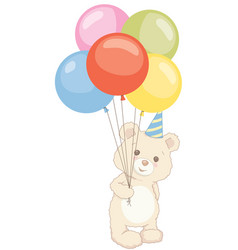 cute teddy bear holding balloons with birthday hat vector image
