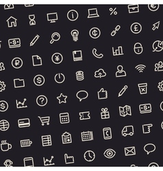 Dark Seamless Business Background with Line Icons vector image vector image