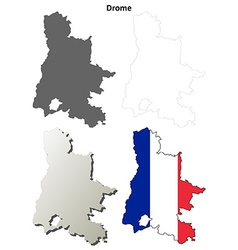 Drome rhone-alpes outline map set vector