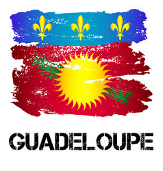 flag of guadeloupe from brush strokes vector image